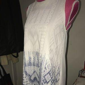 White Graphic Design Dress